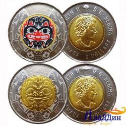 Набор монет 2 доллара 100 лет со дня рождения Билла Рида. 2020 год