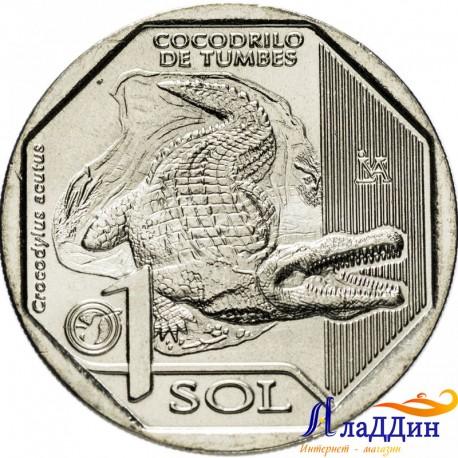 Перу 1 соль. Острорылый крокодил. 2017 год