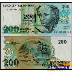 Банкнота 200 крузейро Бразилия. Надпечатка 200 крузейро