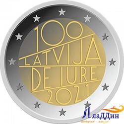 2 евро. 100-летие признания Латвии де-юре. 2021 год