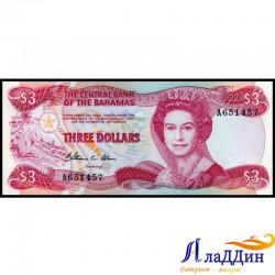 Банкнота 3 доллара Багамские острова