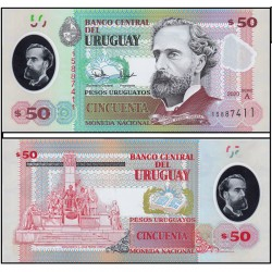 Банкнота 50 песо Уругвай 2020 год. Пластик