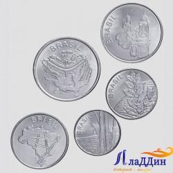 Набор из 5 монет Бразилия. Флора, собор, карта.
