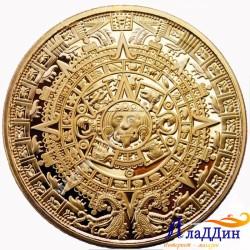Монета пророчества Майя. Позолота
