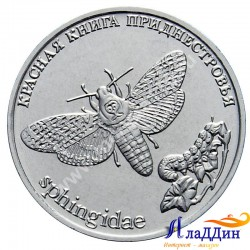 1 рубль. Бабочка Адамова голова