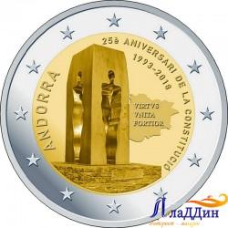 2 евро. 25-летие Конституции Андорры