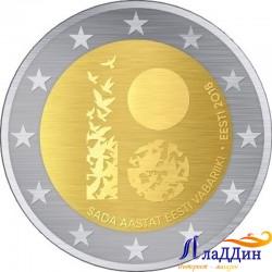 2 евро. 100 лет Эстонской Республике. 2018 год