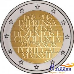 2 евро. 250-летие Imprensa Nacional («Официальная типография»)