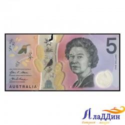 Банкнота 5 долларов Австралия. Пластик