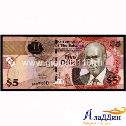 Банкнота 5 долларов Багамские острова