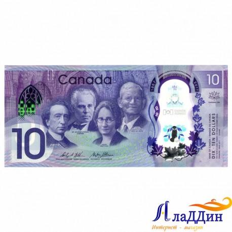 Банкнота 10 долларов Канада. Пластик