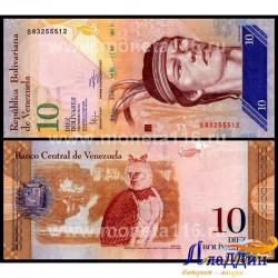 Банкнота 10 боливаров Венесуэла