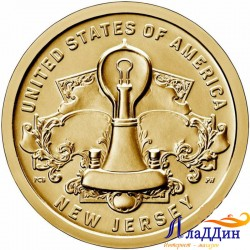 1 доллар Инновации США. Лампа накаливания Томаса Эдисона. 2019г.